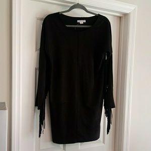 Loverich Faux Suede Fringe Black dress Small